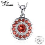 Jewelrypalace 1.29 ct Red Natrual Stone Garnet Round Pendant <b>Necklaces</b> For Women 925 Sterling <b>Silver</b> 45cm Box Chain Fine Jewelry