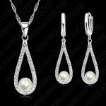 JEXXI Pure 925 Sterling Silver Shiny CZ Crystal Water Drop Pearl Necklaces For Woman Fine <b>Jewelry</b> Wedding Earring Set Gift