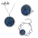 Cdyle Fashion <b>Jewelry</b> Set Blue Gem Women <b>Necklace</b> Ring Bracelet Sets Crystals From Swarovski Female Vintage Retro Round Bijoux