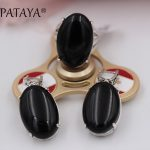 PATAYA New Multicolor Ancient Silver Wipe Black <b>Jewelry</b> Set Gray Onyx Natural Stone Big Earrings Ring Set Back Hollow <b>Jewelry</b>