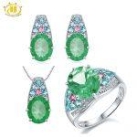 HUTANG Stone Jewelry Sets Natural Gemstone Fluorite Tourmaline Solid 925 Sterling <b>Silver</b> Bridal Jewelry Ring Pendant <b>Earrings</b>
