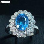 ZHHIRY Blue Topaz Ring Natural Gem Rings Solid 925 <b>Sterling</b> <b>Silver</b> Woman Fine Gemstone <b>Jewelry</b>