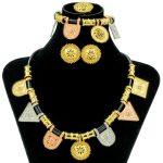 Liffly Creative Fashion Morocco Women Party Gold Jewelery Geometric <b>Necklace</b> Bracelet Earrings Rings Dubai Wedding <b>Jewelry</b> Sets