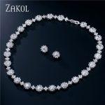 ZAKOL Dazzling AAA Round Zirconia Flower Bridal Wedding <b>Jewelry</b> Sets For Elegant Women Party Dinner Dress FSSP121