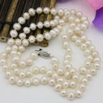 Fashion 7-8mm pearl natural pearls white beads necklace for women long chain charms <b>jewelry</b> <b>making</b> high grade gifts 36inch B3239