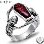 MetJakt Men's Punk Human Bones Skull Ring with Resin Solid 925 <b>Sterling</b> <b>Silver</b> Handmade Halloween <b>Jewelry</b> for Men and Boy