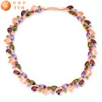 FYM Mona Lis High Quality Luxury Cubic Zirconia Colorful Stone Necklaces Rose Gold Color Gifts <b>Jewelry</b> for Women Party