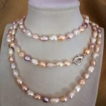 "Women <b>Jewelry</b> 9x10mm pearl 120cm 48"" necklace bright white pink purple baroque pearl <b>handmade</b> real natural freshwater pearl"