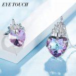 EYE TOUCH Crystals From Swarovski S925 <b>Sterling</b> <b>Silver</b> <b>jewelry</b> Purple Crystal Pendant Necklace Ring Set Fashion Wedding <b>Jewelry</b>