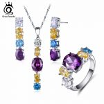 ORSA JEWELS Fashion Silver Color Earrings & Ring & <b>Necklace</b> <b>Jewelry</b> Sets with Shiny Multicolour Cubic Zirconia for Women OS100