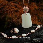 925 <b>silver</b> Natural White HeTian Gem Stone Lucky Pendants Necklace <b>Bracelet</b> Ring Set + certificate Fashion Fine Jewelry