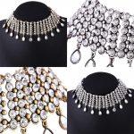 DreamBell Luxury Crystal Waterdrop Pendant Choker Necklace Women Accessories <b>Jewelry</b> N4433 <b>Antique</b> Gold