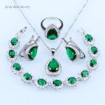L&B Trendy <b>silver</b> Color 925 Stamp Jewelry Sets Green crystal Pendant White zircon <b>Bracelet</b> For Women water drop Earrings