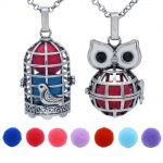 REYOW 2PCS <b>Antique</b> Silver Aromatherapy Locket <b>Jewelry</b> Hollow Birdcage+Owl Perfume Essential Oil Diffuser Necklace Cage Pendant