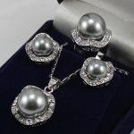 Women's Wedding Set 10mm &14mm Gray South Shell Pearl Earrings Necklace Ring size 7 8 9 silver mujer moda