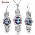 Szjinao Jeffree Star Bridal Jewelry Sets Choker Halloween Gift Women 925 Sterling <b>Silver</b> Rainbow Topaz <b>Earrings</b> Jewelry Sets