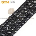 Gem-inside Natural Faceted Flat Square Black Agates Beads For <b>Jewelry</b> <b>Making</b> 8-14mm 15inches DIY Jewellery