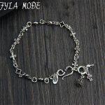 925 Sterling <b>Silver</b> Rosary <b>Bracelet</b> S925 Thai <b>Silver</b> 5.70mm width 18cm Cross Crown Skull Charms <b>Bracelets</b> for Women Men Jewelry