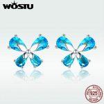 WOSTU <b>Jewelry</b> <b>Making</b> 925 Sterling Silver Elegant Butterfly Blue CZ Stud Earrings For Women Wedding <b>Jewelry</b> Fashion Gift DXE371