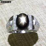 Genuine Natural Star Sapphire Men Ring 925 <b>Sterling</b> <b>Silver</b> Real Gemstone Fine <b>Jewelry</b> Wedding Engagement Birthstone