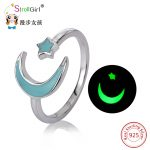 925 Sterling Silver Open Moon Ring Luminous Star Rings For Women Moon&Star <b>Jewelry</b> Glow In The Dark Silver Ring Girl <b>Accessories</b>