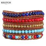 KELITCH <b>Jewelry</b> 1Pcs Bohemian Red Multicolor Beads 5 Wrap Strand Bracelets <b>Handmade</b> Bracelet Vintage Style Customized LOGO