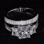 Size 5-11 Original <b>Handmade</b> Luxury <b>Jewelry</b> 925 Sterling Silver Three Stone Princess Clear 5A Zirconia CZ Women Bridal Ring Set