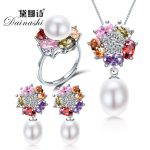Dainashi fashion women 925 sterling <b>silver</b> freshwater pearls sets jewelry with pearl necklace pearl <b>earrings</b> pearl rings