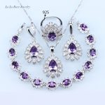 L&B Purple created Australia Crystal White zircon <b>Silver</b> Color Jewelry Set For Women 925 logo Earring/Necklace/<b>Bracelet</b>/Ring