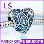 2018 Spring New 925 <b>Silver</b> Blue Crystals Aqua Heart Charm Fit Original <b>Bracelets</b>&Necklace DIY Gift.Women Wedding Jewelry Beads.N