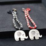 FNJ 925 <b>Silver</b> Bracelet Red Black String 17cm 22cm Chain Elephant Charm Thai S925 <b>Silver</b> Bracelets for Women <b>Jewelry</b>