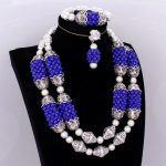 African Bridal Jewelry Set Royal Blue and <b>Silver</b> Dubai Jewellery Set for Women Big Balls Fine Jewelry Nigeria Wedding Beads