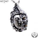 MetJakt Buddha and Devil Pendant Solid 925 Sterling <b>Silver</b> Pendant for <b>Necklace</b> Vintage Punk Rock Thai <b>Silver</b> Jewelry