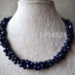 Wholesale Pearl <b>Jewelry</b> – 18 Inches 6-7MM Navy Color Twisted Genuine Freshwater Pearl Necklace Baroque Shape <b>Wedding</b> Gift