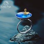 Lotus Fun Real 925 <b>Sterling</b> <b>Silver</b> Fine <b>Jewelry</b> Natural Creative Handmade Designer Poetic Swan In The Sea Rings for Women Bijoux