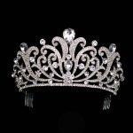 Vintage Silver Crystal tiara Wedding Big Crown For Bride Hair Accessories 2017 New Alloy Rhinestones Queen Crown Hair <b>Jewelry</b>