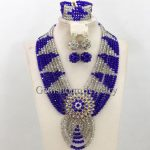 Blue/<b>Silver</b> Crystal Indian Bridal Costume Jewelry Set Chunky Statement Necklace Set African Style Free Shipping WB496