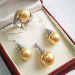 Women's Wedding generious 12mm golden shell pearl pendant, earrings and ring(7-10#) fashion <b>jewelry</b> sets real silver-<b>jewelry</b>