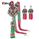 Kinel Natural Stone Tassel <b>Necklace</b> Crystal Flower Drop Earrings For Women Vintage <b>Jewelry</b> Set Antique Gold Luxury Party Gift