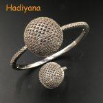 HADIYANA 2018 Ball Shape Bangle&Ring 2pcs <b>Jewelry</b> Set AAA Cubic Zirconia Dubai Luxury Bangle set For Women <b>Wedding</b> Party SZ095