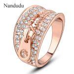 Nandudu <b>Jewelry</b> Zip Ring Nice Crystal Setting Rose Cocktail Ring <b>Fashion</b> Female Women <b>Jewelry</b> Gift R1017