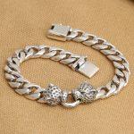 <b>Handmade</b> 925 silver Leopard Bracelet vintage thai silver chain bracelet punk bracelet man <b>jewelry</b> gift