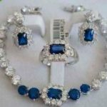 free shipping Jewellery Women's Set Blue Stone <b>bracelet</b> earring ring>> plated watch wholesale Quartz stone CZ crystal