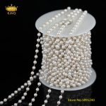 5Meters 4mm White Pearl Chains <b>Jewelry</b>,Wire Wrapped Round Pearl Beads Plated Brass Links Chains <b>Making</b> Necklace Supplies BH03