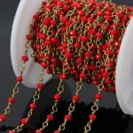 5Meter Small Red Glass beads Brass Wire Wrapped Chain,Faceted Rondelle Rosary Chains Necklace bracelet <b>Jewelry</b> <b>supplies</b>