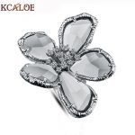 KCALOE Big Austrian Crystal Flower Wedding Rings For Women <b>Jewelry</b> Bague Femme Silver Color Large Engagement Ring <b>Accessories</b>