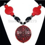Vintage Cinnabar & Black Onyx <b>Handmade</b> Ladies Jewellery Beaded Necklace Fashion <b>Jewelry</b> Wholesale Necklace + earrings