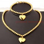 New Fashion Womens Girl Solid Heart <b>Jewelry</b> 6mm Ball Beads <b>Handmade</b> Link Chain Necklace & bracelet Set Yellow Gold color
