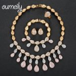 OUMEILY Jewelry Sets For Women 4Pcs African Beads Jewelry Set Imitation Crystal Jewelry Sets Rose Gold <b>Silver</b> Color Jewellery
