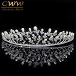 CWWZircons Noble CZ Crystal Birdal Headpiece <b>Wedding</b> Hair Accessories Big Pearl Tiara Crown Headband <b>Jewelry</b> For Women A004